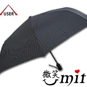 【微笑MIT】張萬春/張萬春洋傘-YAND輕量自動開收傘 T3014(黑直紋)