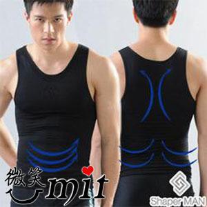 【微笑MIT】Shaper MAN/聯樂製襪-合身加強版 肌力機能衣背心(黑)