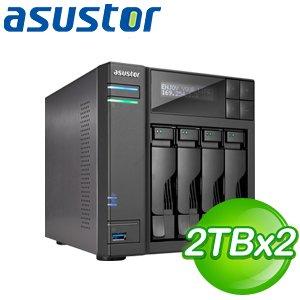 ASUSTOR華芸 AS-604T 4Bay NAS+東芝 2TB 二顆(DT01ACA200)