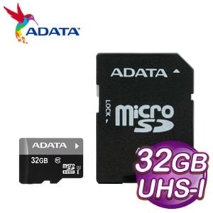 ADATA 威剛 32GB Premier MicroSDHC(C10) UHS-I U1 (銀卡)記憶卡 - 附轉卡